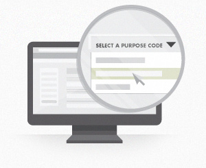 Add your bank account and Purpose code