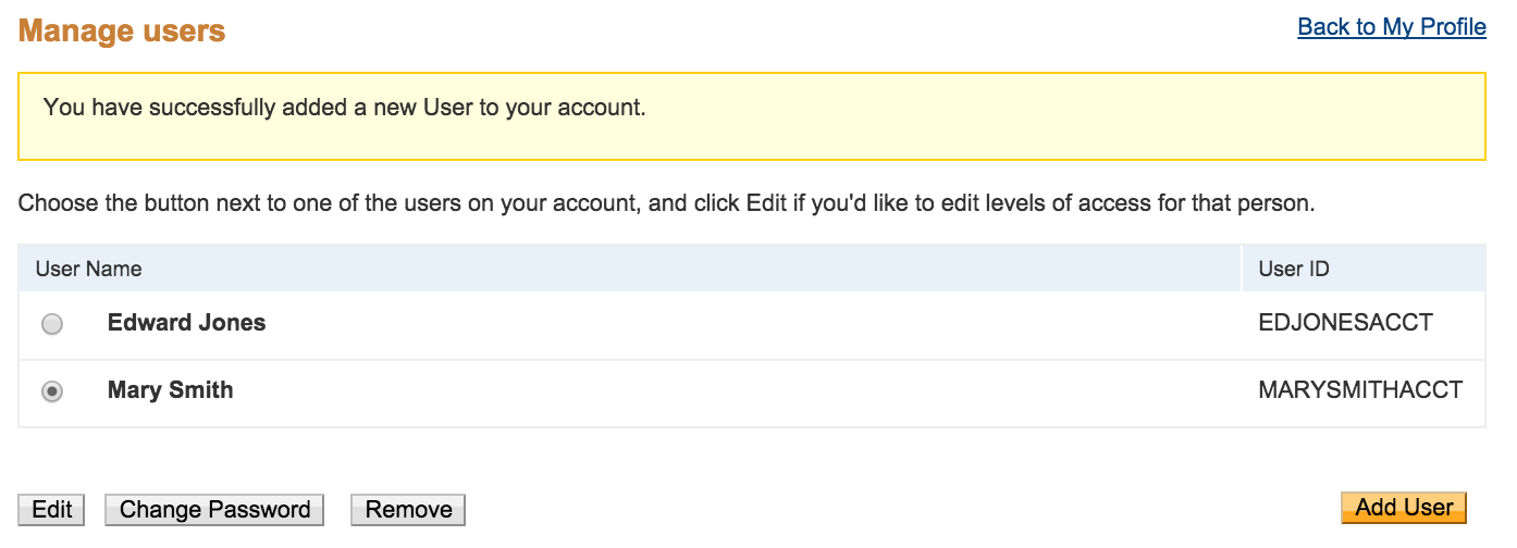 Set up and maintain your account paypal developer click update next to manage users reheart Images