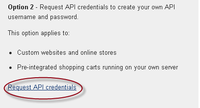 Click Request API Credentials