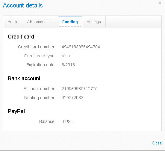 real paypal account info
