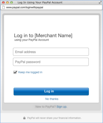 Log In with PayPal screen