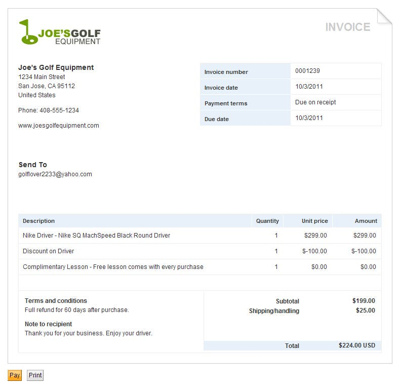 Small Business Invoicing Creating Online Invoices PayPal US – Business Invoice
