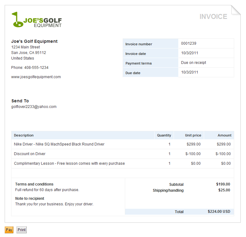Small Business Invoicing Creating Online Invoices PayPal US - Invoice template with credit card payment option