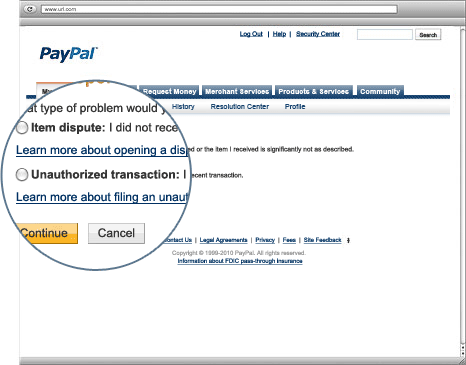 Report a Problem Unauthorized Transaction