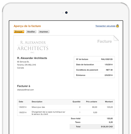 facturation par courriel factures en ligne paypal ca. Black Bedroom Furniture Sets. Home Design Ideas