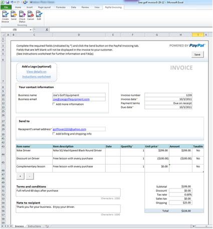 make invoice in excel