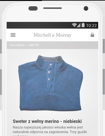 Obraz telefonu komórkowego wyświetlającego zdjęcie swetra