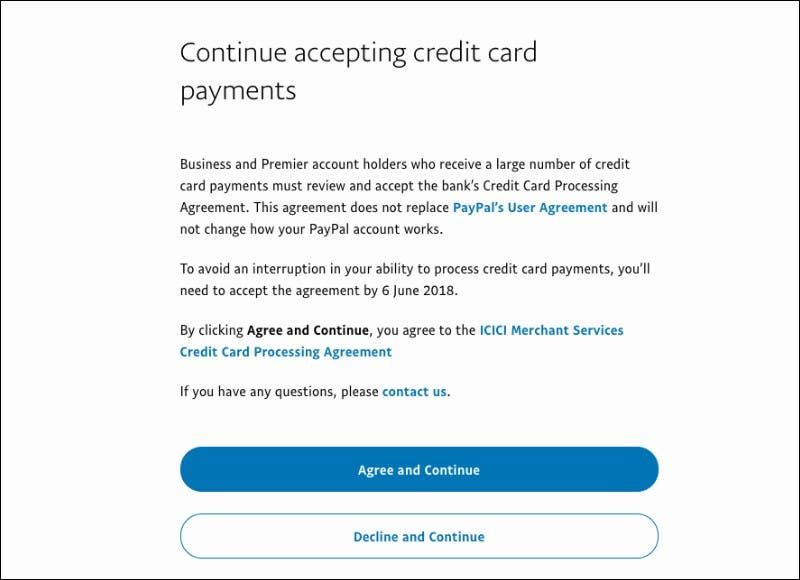 continue accepting payments page